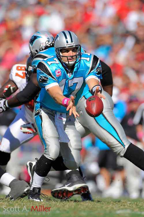 Oct 18, 2009; Tampa, FL, USA; Carolina Panthers quarterback Jake Delhomme (17) in action during the second half of the Panthers 28-21 win over the Tampa Bay Buccaneers at Raymond James Stadium. ©2009 Scott A. Miller