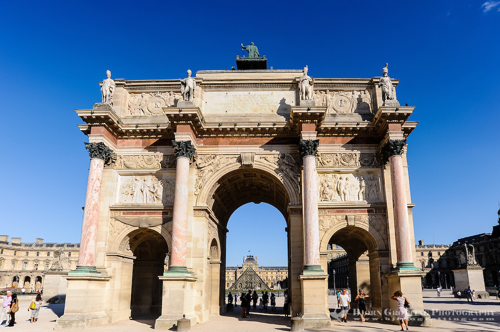 Paris, France. The Musée du Louvre is one of the world's largest museums and the most visited art museum in the world. Arc de Triomphe du Carrousel.