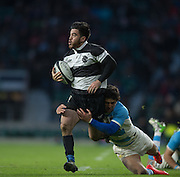 Twickenham, United Kingdom, Nehe MILNER-SCUDDER, running on the wing during the Killik Cup Match, Barbarians vs Argentina, RFU Stadium, Twickenham, England,<br /> <br /> Saturday    21/11/2015  <br /> <br /> [Mandatory Credit; Peter Spurrier/Intersport-images]