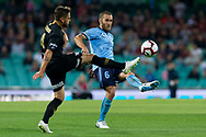 SYDNEY, AUSTRALIA - OCTOBER 27: Sydney FC midfielder Joshua Brillante (6) passes the ball under pressure from Western Sydney Wanderers defender Josh Risdon (4)  at The Hyundai A-League Round 1 soccer match between Sydney FC and Western Sydney Wanderers FC The Sydney Cricket Ground in Sydney on October 27, 2018. (Photo by Speed Media/Icon Sportswire)
