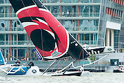 Alinghi. Day two of the Extreme Sailing Series regatta being sailed in Singapore. 21/2/2014