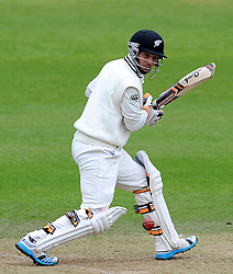 New Zealand's BJ Watling cuts the ball. Photo mandatory by-line: Harry Trump/JMP - Mobile: 07966 386802 - 10/05/15 - SPORT - CRICKET - Somerset v New Zealand - Day 3- The County Ground, Taunton, England.