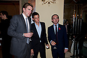 MILES FROST;  JAMES ROTHSCHILD; ALEX TULLOCH;, Book launch of Lady Annabel Goldsmith's third book, No Invitation Required. Claridges's. London. 11 November 2009