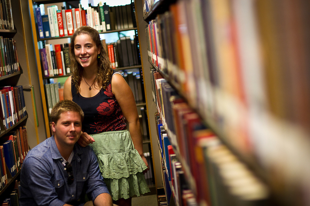 "Michael Goldfien and Erica Seltzer-Schultz (both '12) pose for a portrait in an aisle of Burling Library on Thursday. Goldfien and Seltzer-Schultz examined the American Zionist movement in their Baumann Prize-winning essay entitled ""Zionism, Liberalism, and Young American Jews: How Redefining the American Zionist  Could Help Bring Peace to the Middle East."""