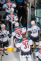 KELOWNA, CANADA - FEBRUARY 1: Goalies Michael Herringer #30 and Brodan Salmond #31 of the Kelowna Rockets exit the ice after the win against the Calgary Hitmen on February 1, 2017 at Prospera Place in Kelowna, British Columbia, Canada.  (Photo by Marissa Baecker/Shoot the Breeze)  *** Local Caption ***