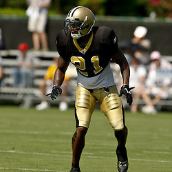 July 31, 2010; Metairie, LA, USA; New Orleans Saints safety Chip Vaughn (21) during a training camp practice at the New Orleans Saints practice facility. Mandatory Credit: Derick E. Hingle