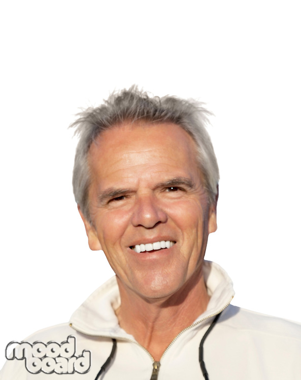 Portrait of a happy mature man over white background.
