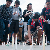 Candlelight Vigil for Nepal on the quad, Photo Patrick Sweeney