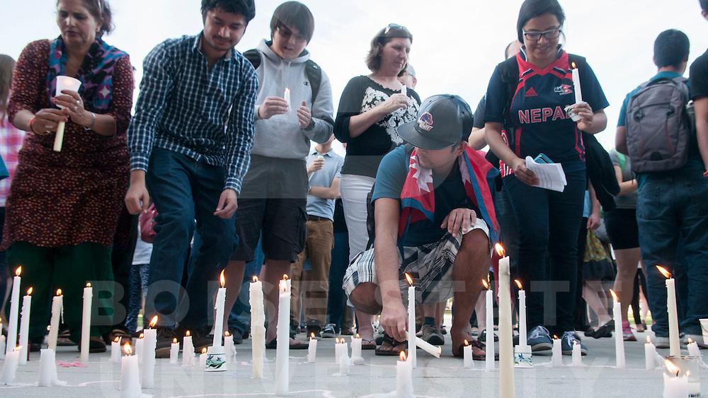Candlelight Vigil for Nepal on the quad, Photo Patrick Sweeney