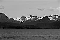 Kachemak Bay Black and White view from Homer Alaska