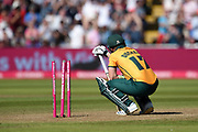 Ben Duckett of Notts Outlaws crouched over as he was unable to get a run off the final ball during the Vitality T20 Finals Day 2019 match between Notts Outlaws and Worcestershire Rapids at Edgbaston, Birmingham, United Kingdom on 21 September 2019.