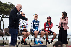 Tayler Wiles (USA) introduced to the crowd in a Q & A session at Amgen Tour of California Women's Race empowered with SRAM 2019 - Team Presentation in Ventura, United States on May 15, 2019. Photo by Sean Robinson/velofocus.com