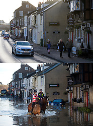 © Licensed to London News Pictures. 27/12/2016. York, UK. Side by side comparison pictures showing the town centre of York as it is today, December 27, 2016 (TOP), and exactly a year ago today, on December 27, 2015 (BOTTOM) during the middle of severe flooding. Homes and businesses were destroyed in the flooding over the Christmas period last year. Photo credit: Ben Cawthra/LNP