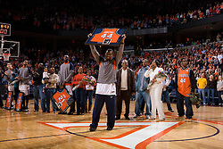 Virginia guard Sean Singletary (44) had his jersey retired before the tip off of the Maryland game on Senior Night.  Singletary became the first active player to have his jersey retired at UVA before his final game.  The Virginia Cavaliers defeated the Maryland Terrapins 91-76 at the University of Virginia's John Paul Jones Arena  in Charlottesville, VA on March 9, 2008.