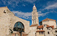 Cathedral (originally Diocletian's maosoleum) and bell tower, with the Ethnographic Museum in the foreground, Diocletian's Palace, Split, Croatia