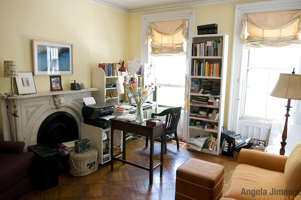 Date: 5/8/11.Desk: REA.Slug: 15COVER5.Assign Id: 10111168E..The home of Jed Marcus and Jessica Greenbaum, a four-story 1874 brownstone with a 2009 back addition by design architect Christopher McVoy located in Fort Greene, Brooklyn, is photographed on May 8, 2011. They live there with their daughters Becki, 13, and Bella, 16, who is away at boarding school. ..Jessica, who is a poet, uses this second floor room as her study. ..Photo by Angela Jimenez for The New York Times .photographer contact 917-586-0916
