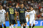 Cristiano Ronaldo of Juventus FC reacts after arguing with Jeison Murillo of Valencia CF during the UEFA Champions League, Group H football match between Valencia CF and Juventus FC on September 19, 2018 at Mestalla stadium in Valencia, Spain - Photo Manuel Blondeau / AOP Press / ProSportsImages / DPPI