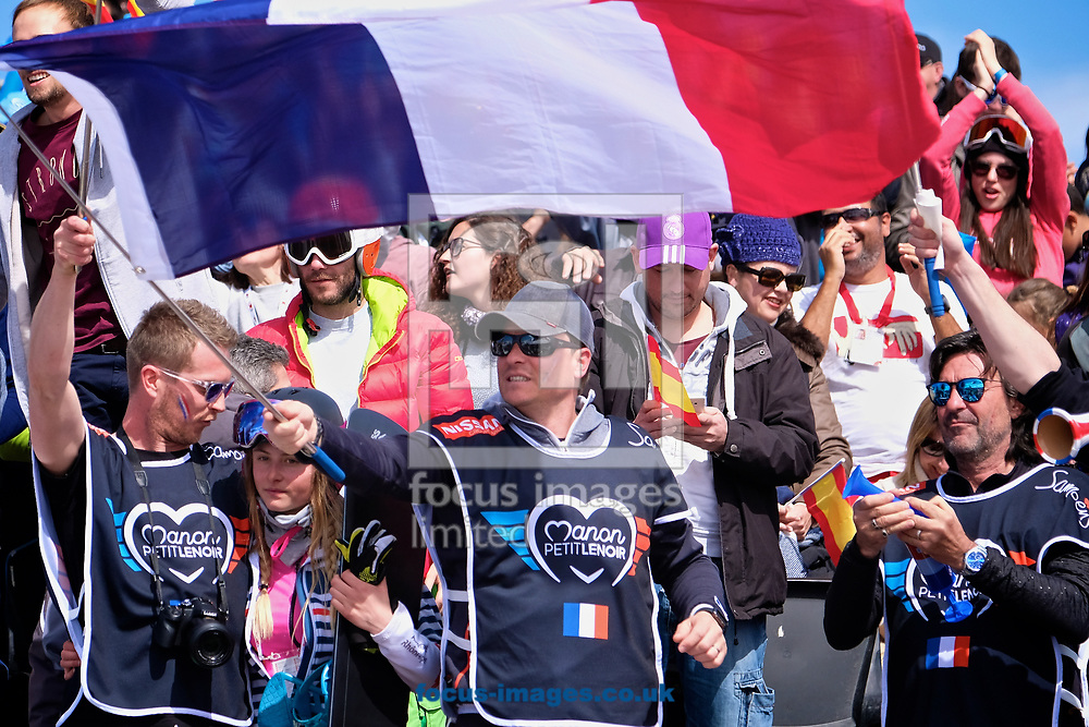 French fans celebrate Pierre Vaultier (FRA) winning the gold medal during the Men's Snowboard Cross Final at the FIS Freestyle Ski &amp; Snowboard World Championships 2017 at the Sierra Nevada Ski Station, Granada<br /> Picture by Kristian Kane/Focus Images Ltd +44 7814 482222<br /> 12/03/2017