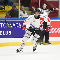 WHITBY, - Dec 13, 2015 -  WJAC Game 2- Team Switzerland vs Team Canada East at the 2015 World Junior A Challenge at the Iroquois Park Recreation Complex, ON. Stefan Ruegsegger #28 of Team Switzerland skates up the ice during the second period.<br /> (Photo: Andy Corneau / OJHL Images)