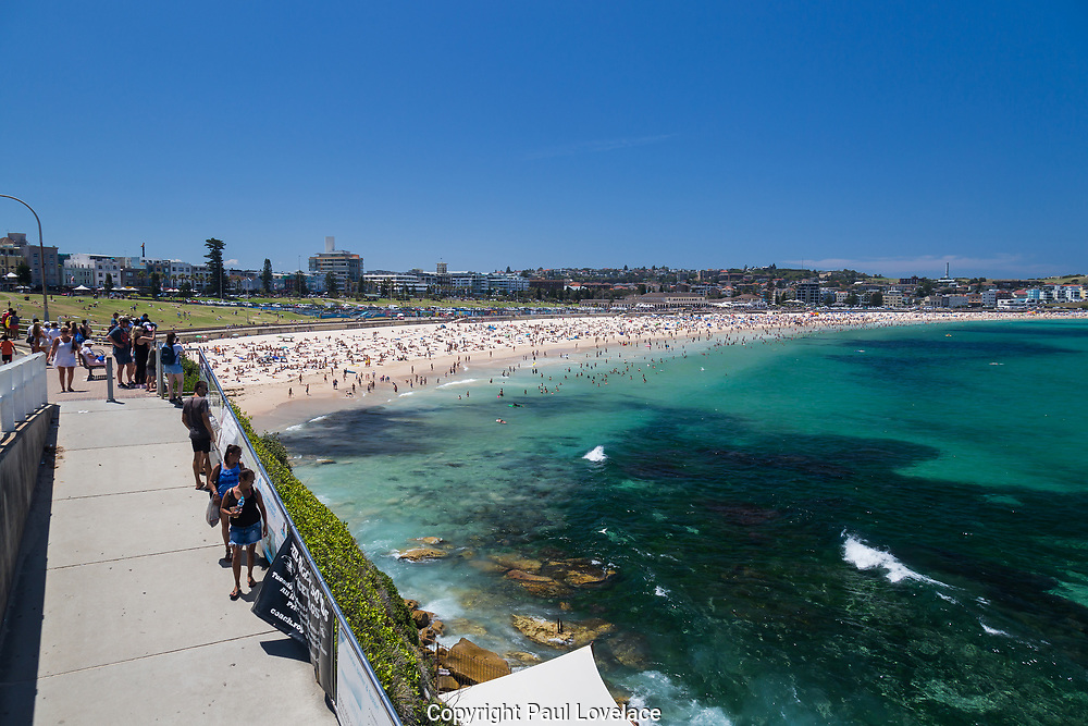 Crowds on Bondi Beach, Sydney, Australia.