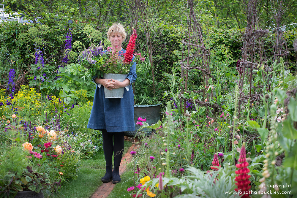 Sarah Raven in her Cutting Garden at the RHS Chelsea Flower Show 2017