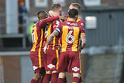 GOAL Charlie Wyke celebrates 2-0  during the EFL Sky Bet League 1 match between Bradford City and Rochdale at the Northern Commercials Stadium, Bradford, England on 9 December 2017. Photo by Daniel Youngs.