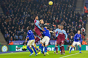 Kasper Schmeichel (1) punches clear during the Premier League match between Leicester City and West Ham United at the King Power Stadium, Leicester, England on 22 January 2020.