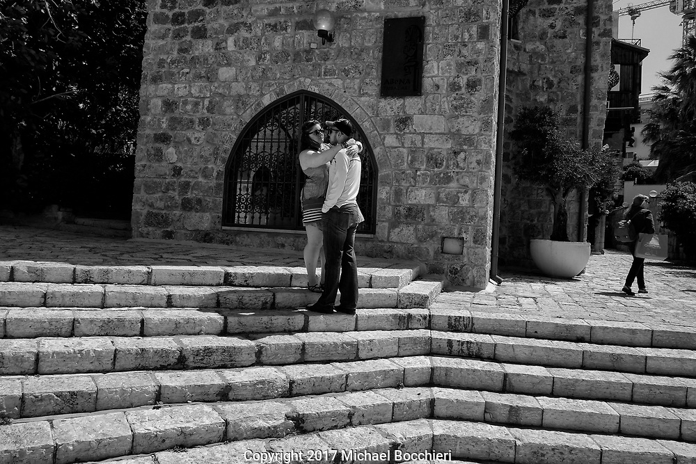 TEL AVIV,  - April 14:  Ally and Cesar stand on steps in the old city of Jaffa on April 14, 2017 in TEL AVIV, Israel.  (Photo by Michael Bocchieri/Bocchieri Archive)