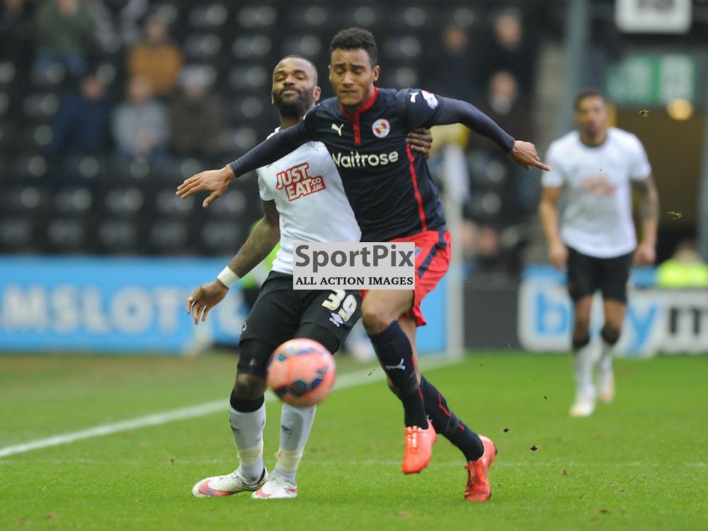 Readings Jordan Obita, Gets Past Derbys Darren Bent, Derby County v Reading, FA Cup, Pride Park Saturday 14th Febuary 2015