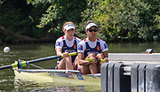 Henley on Thames, England, United Kingdom, Friday, 05.07.19, E.C. Beeres & L. Youssifou Netherlands, NED, at the Start, of their Heat, of the Hambleden Challenge Trophy, Henley Royal Regatta,  Henley Reach, [©Karon PHILLIPS/Intersport Images]<br /> <br /> 11:58:05 1919 - 2019, Royal Henley Peace Regatta Centenary,