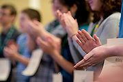 Spelling bee participants clap their hands to congratulate each other on making it to the Spelling Bee Regionals Saturday, March 16, 2013. The Regional Spelling Bee was sponsored by Ohio University's Scripps College of Communication and held in Margaret M. Walter Hall on OU's main campus.