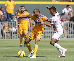 July 8, 2018 - Round Rock, USA - Tigres midfielder Guido Pizarro (19) and Pachuca defender Elbis Sousa (3) fight for possession during a Liga MX friendly match between Tigres and Pachuca at Dell Diamond in Round Rock, Texas, on July 8, 2018. (Credit Image: © Scott W. Coleman via ZUMA Wire)