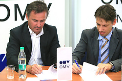 Primoz Ulaga and Robert Dezman of OMV at press conference at signing the sponsorship contract between SZS and OMV Slovenija, on June 30, 2008, Ljubljana, Slovenia. (Photo by Vid Ponikvar / Sportal Images)../ Sportida)