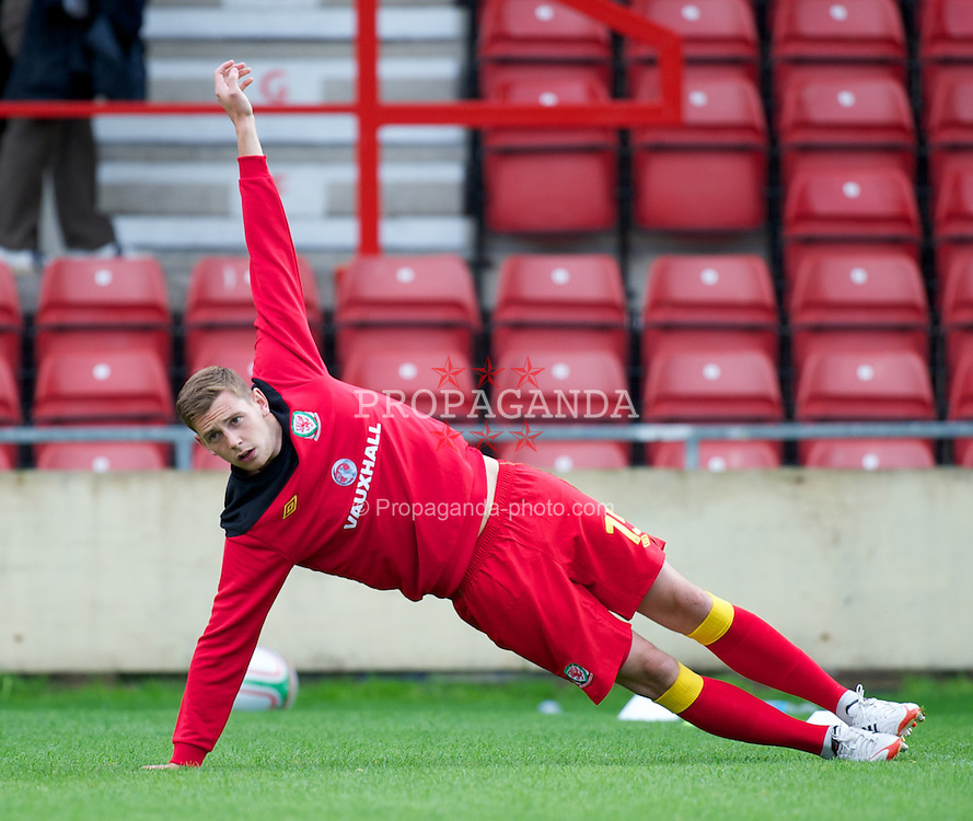WREXHAM, WALES - Wednesday, August 15, 2012: Wales' Ashton Taylor warms-up before the UEFA Under-21 Championship Qualifying Round Group 3 match against Armenia at the Racecourse Ground. (Pic by Dave Richards/Propaganda)
