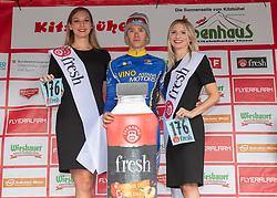 12.07.2019, Kitzbühel, AUT, Ö-Tour, Österreich Radrundfahrt, 6. Etappe, von Kitzbühel nach Kitzbüheler Horn (116,7 km), im Bild Vadim Pronskiy (KAZ, Vino - Astana Motors) mit der Teekanne Fresh Startnummer des besten Jungprofis // Vadim Pronskiy of Kazakhstan (Vino - Astana Motors) with the Teekanne Fresh starting number for the best young rider during 6th stage from Kitzbühel to Kitzbüheler Horn (116,7 km) of the 2019 Tour of Austria. Kitzbühel, Austria on 2019/07/12. EXPA Pictures © 2019, PhotoCredit: EXPA/ Reinhard Eisenbauer