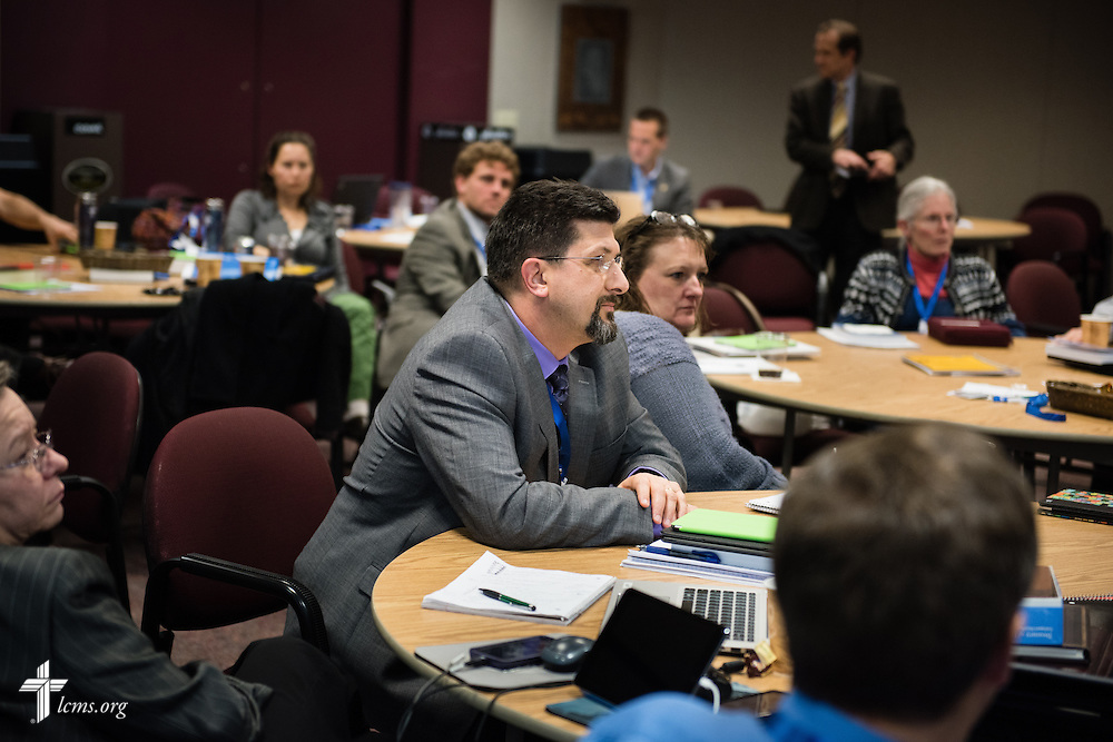 New Missionary Douglas Thompson (center) listens during a missionary orientation session at The Lutheran Church–Missouri Synod International Center on Wednesday, March 4, 2015,  in Kirkwood, Mo. LCMS Communications/Erik M. Lunsford