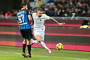 Aleksandar Kolarov of AS Roma and Antonio Candreva of Inter during the Italian championship Serie A football match between FC Internazionale and AS Roma on January 21, 2018 at Giuseppe Meazza stadium in Milan, Italy - Photo Morgese - Rossini / ProSportsImages / DPPI