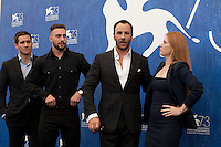 Jake Gyllenhaal, Aaron Taylor Johnson, director Tom Ford, Amy Adams  at Nocturnal Animals film photocall at the 73rd Venice Film Festival, Sala Grande on Friday September 2nd 2016, Venice Lido, Italy.