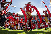 11 November 2012: Quarterback (7) Colin Kaepernick of the San Francisco 49ers runs onto the field with the rest of the team during player introductions before the 49ers and the St. Louis Rams play to a 24-24 tie between in an NFL football game at Candlestick Park in San Francisco, CA.