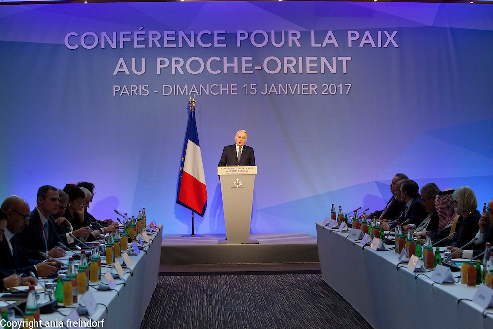 Middle East Peace Conference, Paris, France. International summit. 7O countries have participated in the summit. Jean-Marc Ayrault, French politician, Foreign Affaires Minister of France.