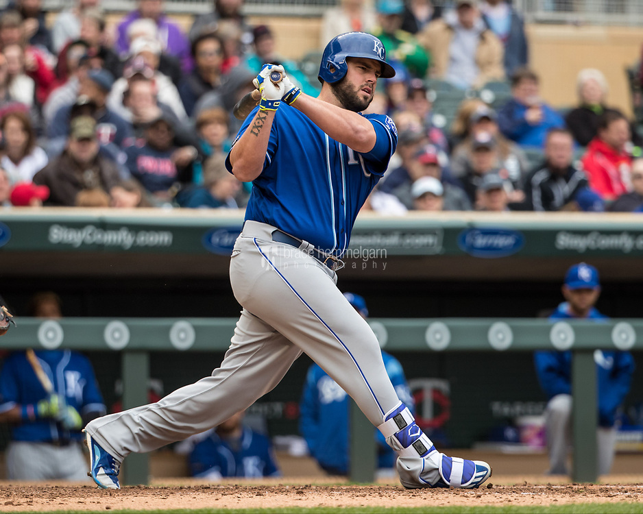 MINNEAPOLIS, MN- APRIL 5: Mike Moustakas #8 of the Kansas City Royals bats against the Minnesota Twins on April 5, 2017 at Target Field in Minneapolis, Minnesota. The Twins defeated the Royals 9-1. (Photo by Brace Hemmelgarn) *** Local Caption *** Mike Moustakas