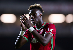 "Swansea City's Tammy Abraham during the Carabao Cup, Second Round match at Stadium MK, Milton Keynes. PRESS ASSOCIATION Photo. Picture date: Tuesday August 22, 2017. See PA story SOCCER MK Dons. Photo credit should read: Scott Heavey/PA Wire. RESTRICTIONS: EDITORIAL USE ONLY No use with unauthorised audio, video, data, fixture lists, club/league logos or ""live"" services. Online in-match use limited to 75 images, no video emulation. No use in betting, games or single club/league/player publications."