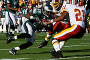 LANDOVER, MD - NOVEMBER 11: Brian Westbrook #36 of the Philadelphia Eagles carries the ball during the game against the Washington Redskins on November 11, 2007 at FedEx Field in Landover, Maryland. The Eagles won 33-25.