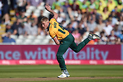 Luke Wood of Notts Outlaws bowling during the Vitality T20 Finals Day 2019 match between Notts Outlaws and Worcestershire Rapids at Edgbaston, Birmingham, United Kingdom on 21 September 2019.