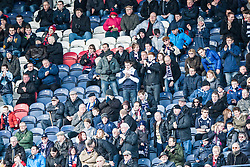 Falkirk away fans after the first goal.<br /> Raith Rovers 2 v 4 Falkirk, Scottish Championship game today at Starks Park.<br /> &copy; Michael Schofield.