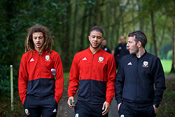 CARDIFF, WALES - Sunday, October 13, 2019: Wales' (L-R) Ethan Ampadu, Tyler Roberts and sports scientist Ronan Kavanagh during a pre-match team walk at the Vale Resort ahead of the UEFA Euro 2020 Qualifying Group E match between Wales and Croatia. (Pic by David Rawcliffe/Propaganda)