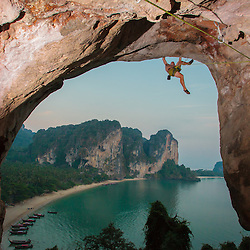 Luke Hudson climbing the overhanging Burnt Offerings, 5.12a, Tonsai, Krabi, Thailand