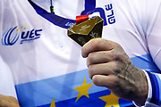 Illustration gold medal, Men Team Sprin, Netherlands, during the UEC Track Cycling European Championships Glasgow 2018, at Sir Chris Hoy Velodrome, in Glasgow, Great Britain, Day 2, on August 3, 2018 - Photo Luca Bettini / BettiniPhoto / ProSportsImages / DPPI - Belgium out, Spain out, Italy out, Netherlands out -