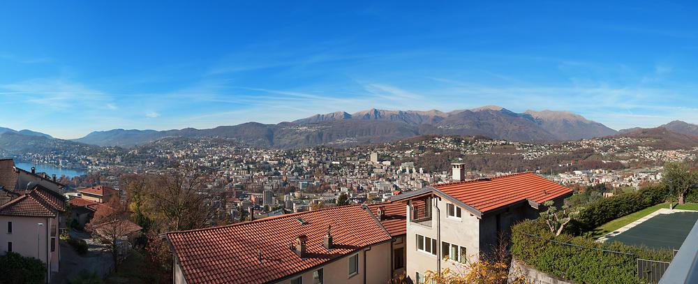panoramic view of Lugano, Switzerland