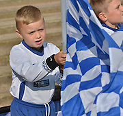 a young bury fan before the Sky Bet League 1 match between Bury and Port Vale at Gigg Lane, Bury, England on 19 September 2015. Photo by Mark Pollitt.